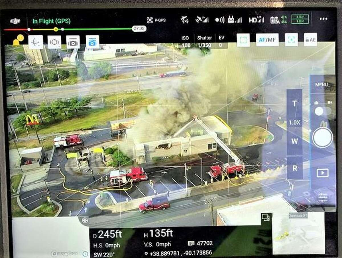 The operator view of a Madison County Emergency Management Agency drone used at the Broadway McDonald's fire June 17 in Alton.