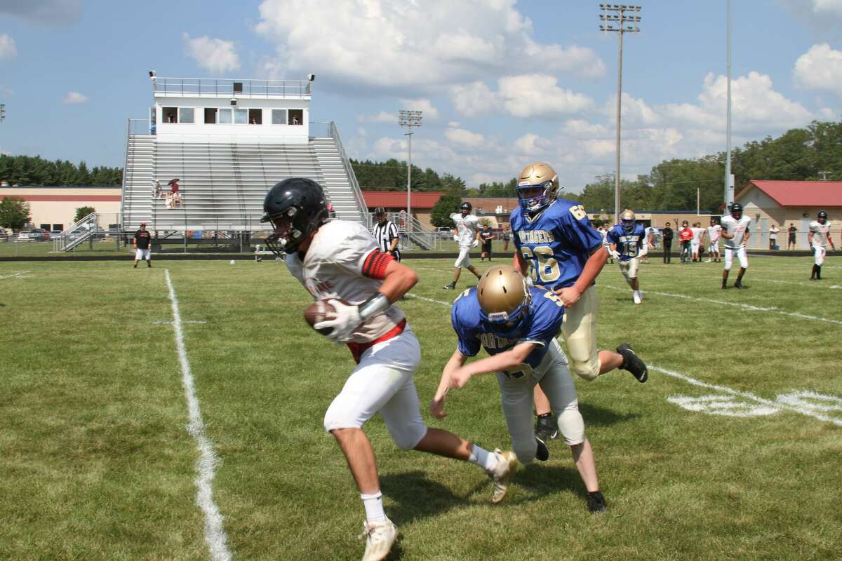 Onekama High School varsity football scrimmaged the Bear Lake Lakers on Thursday afternoon.