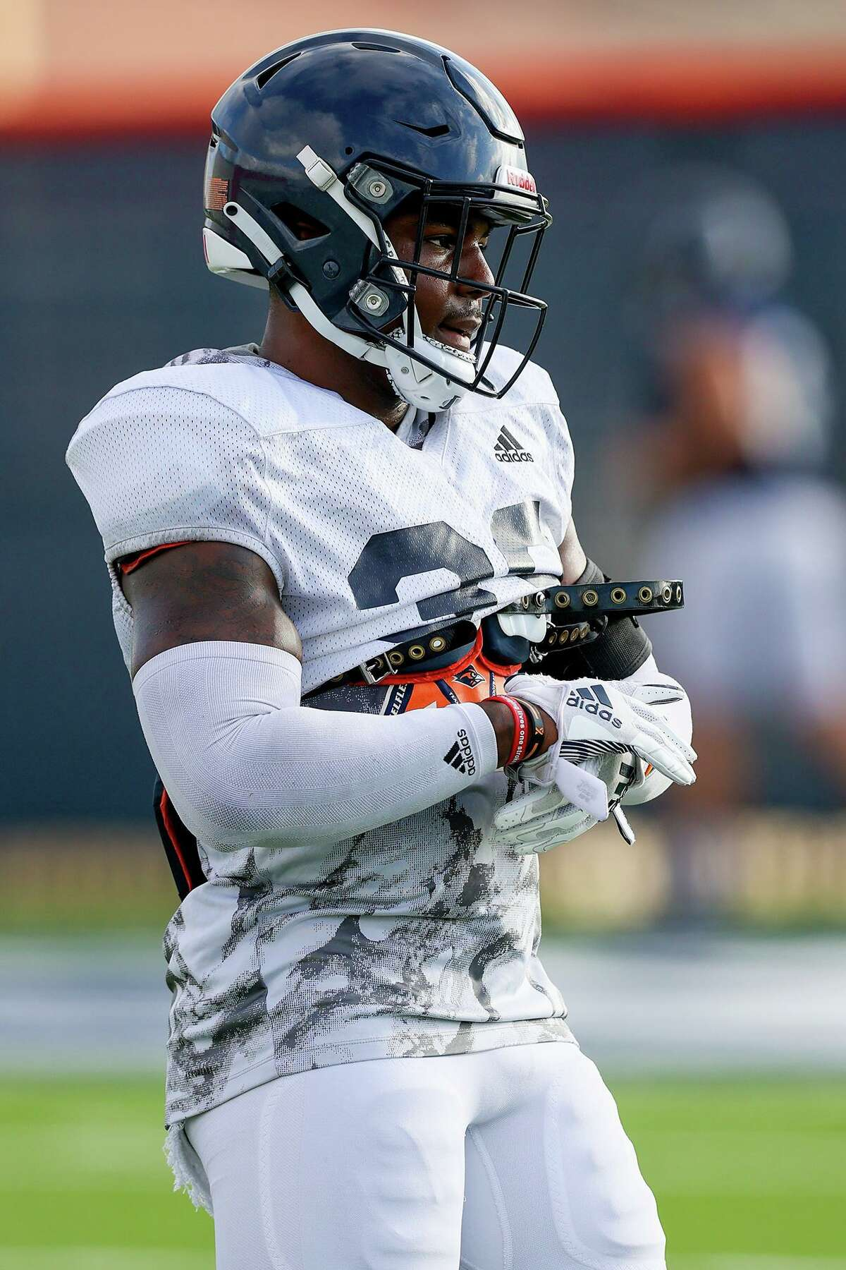 UTSA safety Rashad Wisdom during a morning football practice at the practice fields of the RACE facility on Thursday, Aug. 12, 2021.