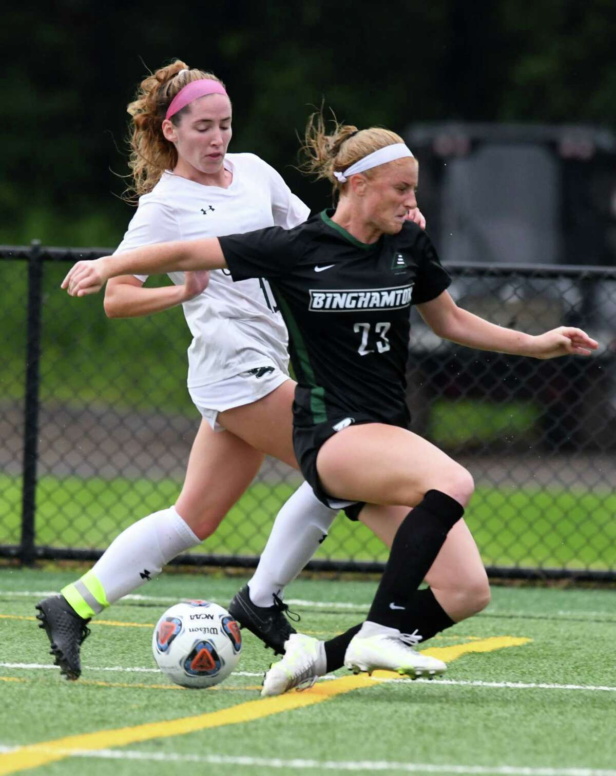 Siena College forward Carrie Krohn attacks down the left wing against Binghamton during the defending MAAC soccer champion?•s season opener on Thursday, Aug. 19, 2021, at Siena College in Colonie, N.Y.