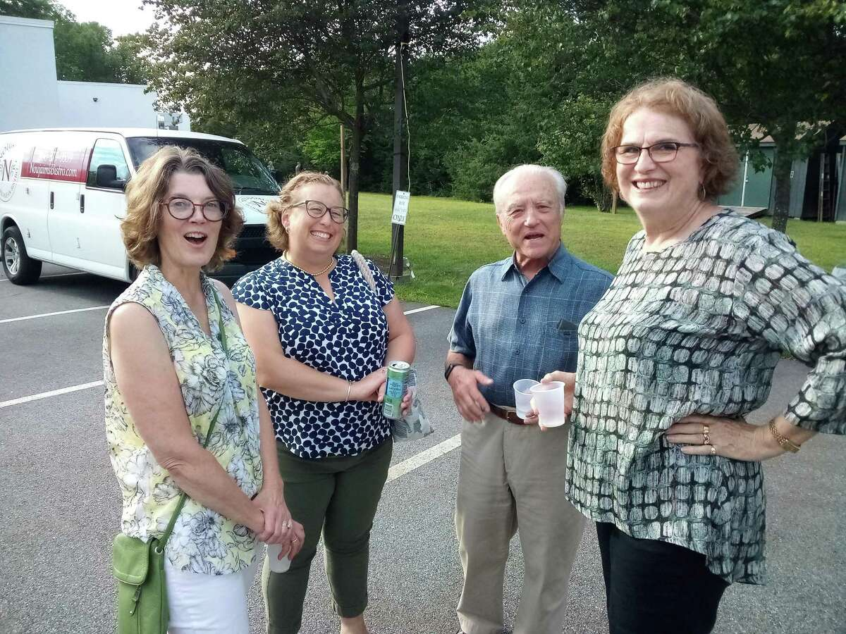 """Deirdre Houlihan DiCara, executive director of FISH of Northwest Connecticut, a homeless shelter and food pantry, celebrated the organization's supporters with """"A Celebration of Resilience"""" Aug. 18 at the Litchfield Community Center. From left are Denise Butwill, Kristin Eaton, and Franco and Charlene Barbacci."""