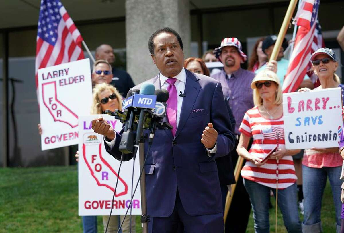 """Radio host Larry Elder, the leading Republican candidate for governor in the recall election, wrote in a 2000 book that """"smart women"""" ignore crude taunts from male co-workers."""