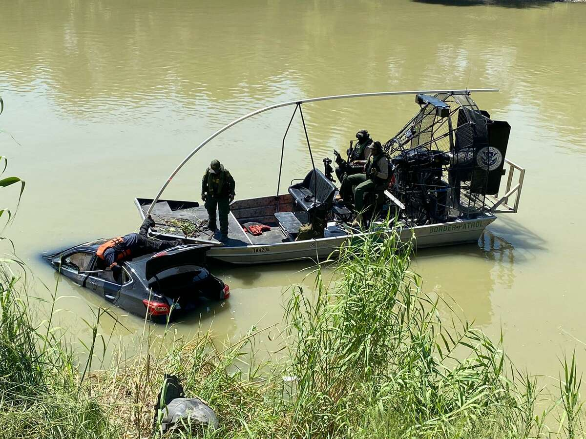 Laredo police said the driver of this vehicle drove into the Rio Grande because he wanted to hurt himself. The incident occurred on Thursday by the railroad international bridge.