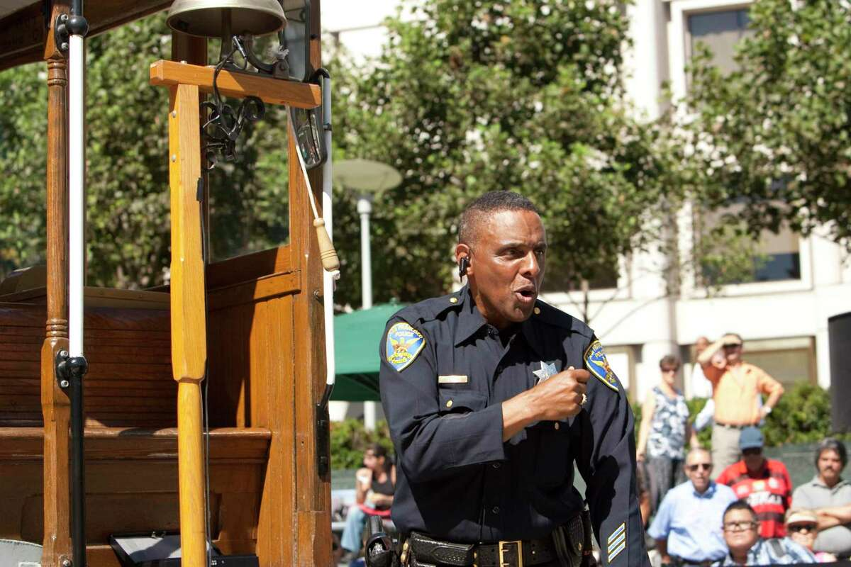 Carl Payne gives a demonstration during the 48th annual Cable Car Bell Ringing Contest at Union Square in 2010.