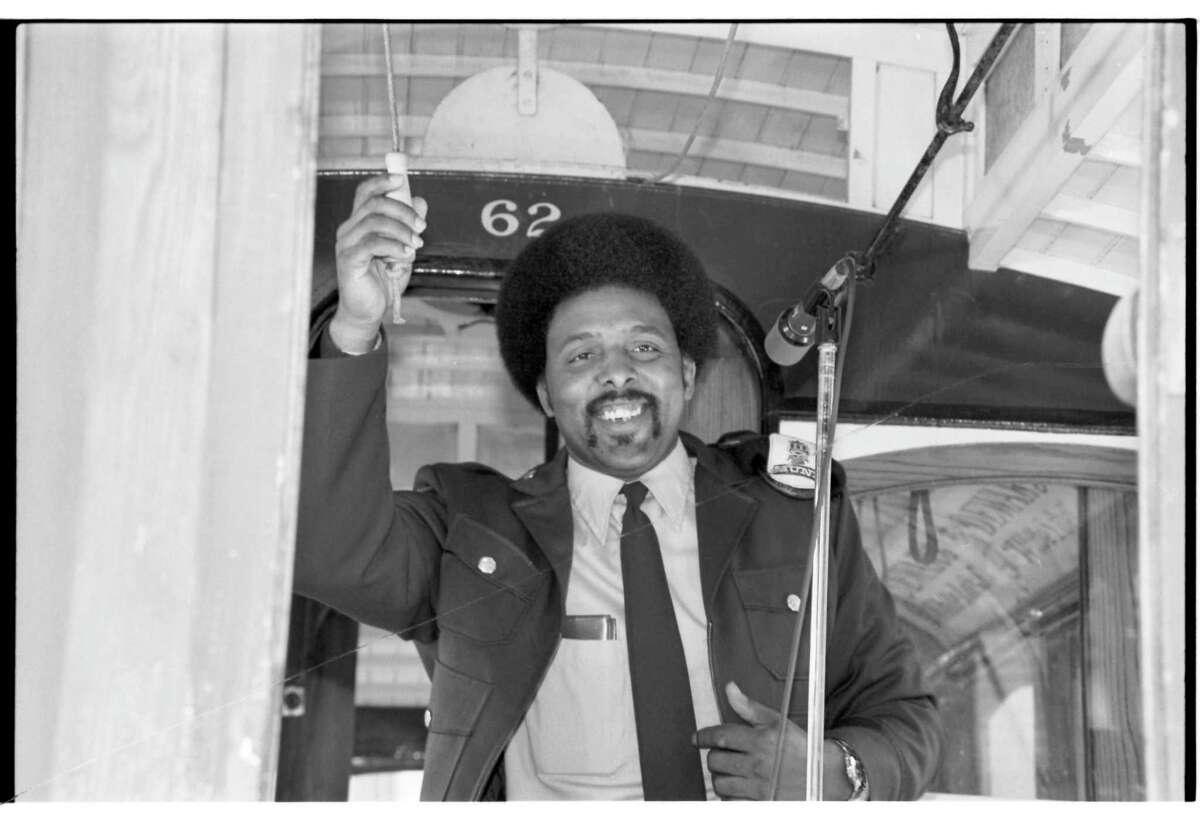 Carl Payne, cable car bell ringing champion, circa 1980.