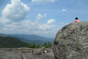 The view from a summit boulder on Blueberry Mountain.