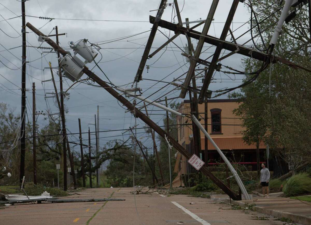 Hurricane Laura caused severe wind damage to structures in Lake Charles, Aug. 27, 2020, in Louisiana.