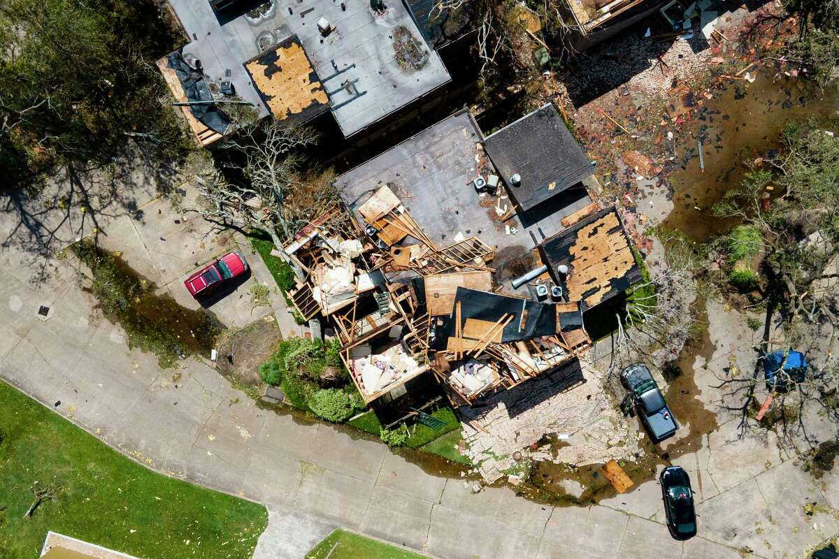 Apartments are severely damaged near Lake Street and W. McNeese Road in the aftermath of Hurricane Laura, Thursday, Aug. 27, 2020, in Lake Charles, LA.