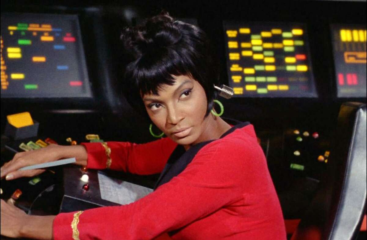 "Nichelle Nichols as Lt. Nyota Uhura in the ""Star Trek: The Original Series"" episode, ""Arena."" Original air date January 19, 1967."