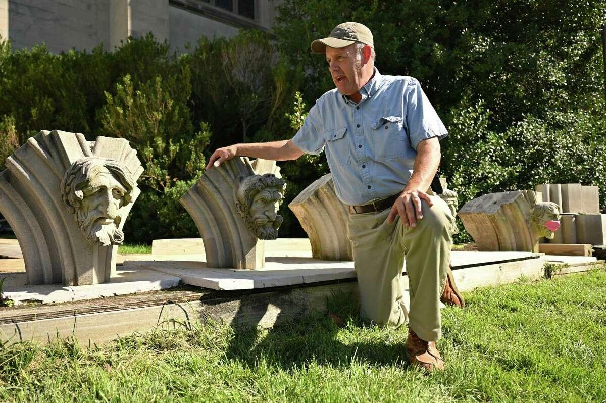 Joe Alonso is head stone mason at Washington National Cathedral. Photographed Aug. 19, 2021.
