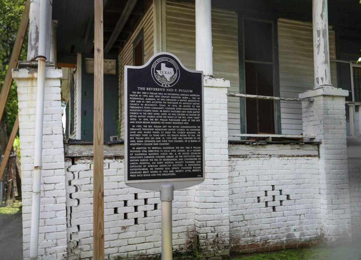 """Former residence of the Rev. Ned Pullum, 1319 Andrews, photographed Aug. 19, 2021, in Houston. In 1915, the Black community in Houston was chronicled in detail in """"The Red Book Houston,"""" a massive almanac that reveals names, addresses, occupations, community activities and other aspects of life. It gives a real picture of how educated Black people lived in Houston just 50 years after slavery and provides some perspective today with the city's gentrification in Black communities. Rice University has unveiled a data resource """"Red Book"""" map that will be free to the public for genealogy and other uses."""