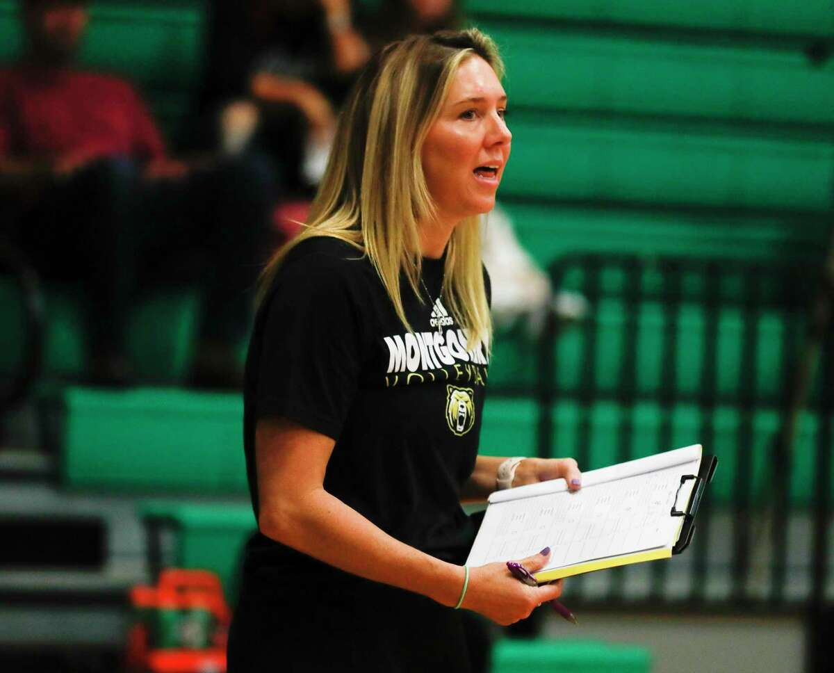 Montgomery head coach Kayli Kane is seen in the first set of a high school volleyball match during the Spring ISD Tournament at Spring High School, Thursday, Aug. 19, 2021, in Spring.