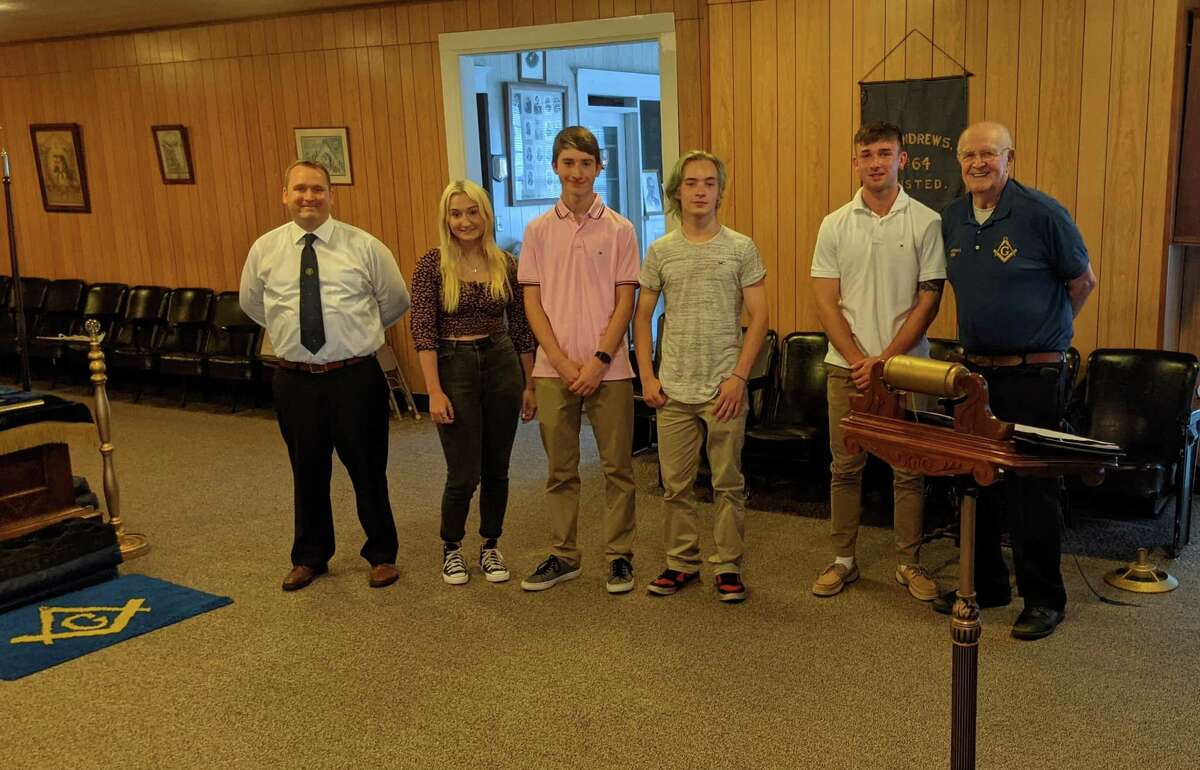 From left are Worshipful Master Keith Dearden, Marisa Montano, Connor Marchand, Neicko Clapper, Kyle Valickas andTreasurer RW Mo Gabelmann, St. Andrew's #64 Masonic Lodge, Winsted.
