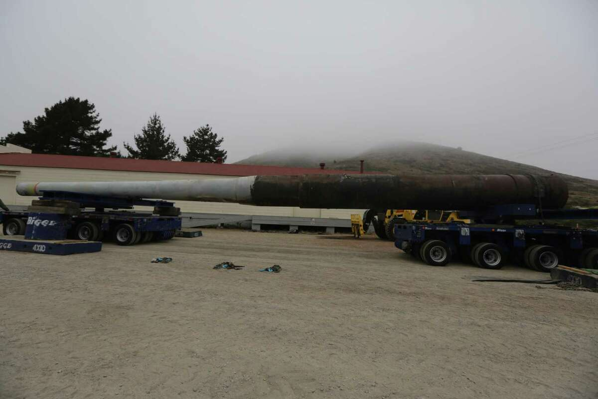 The gun from the battleship Missouri is secured onto two hydraulic carriages to help move the 68-foot-long, nearly 120-ton weapon to Battery Townsley in the Marin Headlands in 2012.