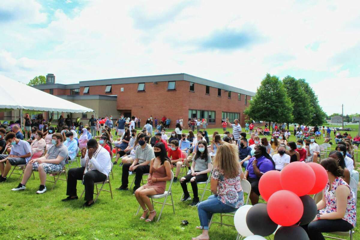 West Haven Mayor Nancy R. Rossi attended outdoor promotion ceremonies in June at Savin Rock Community School and Bailey Middle School
