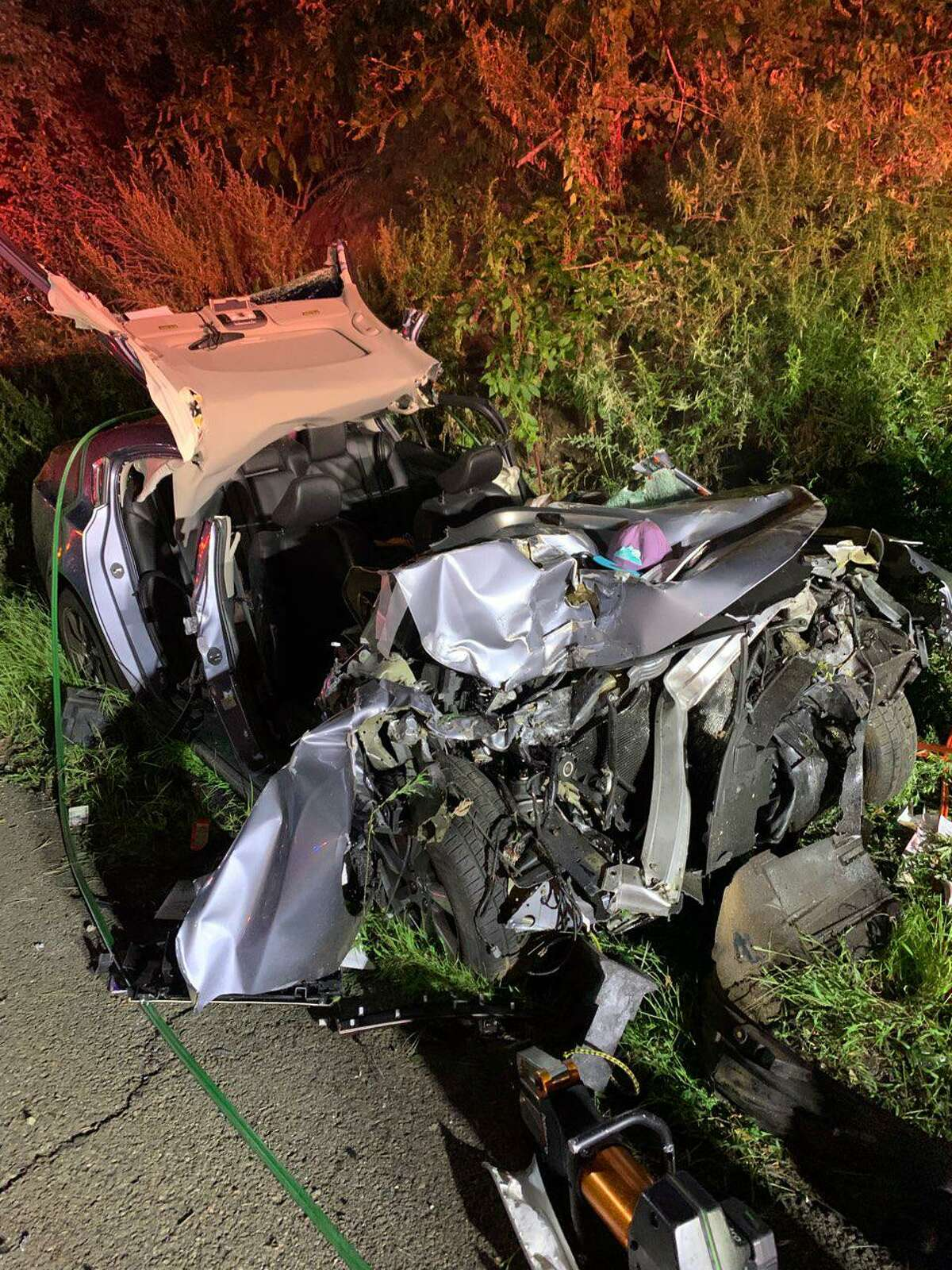 Shelton firefighters extricated a person from the wreckage of this accident that occurred Tuesday, Aug. 17, 2021, on Route 8 about 1 a.m.