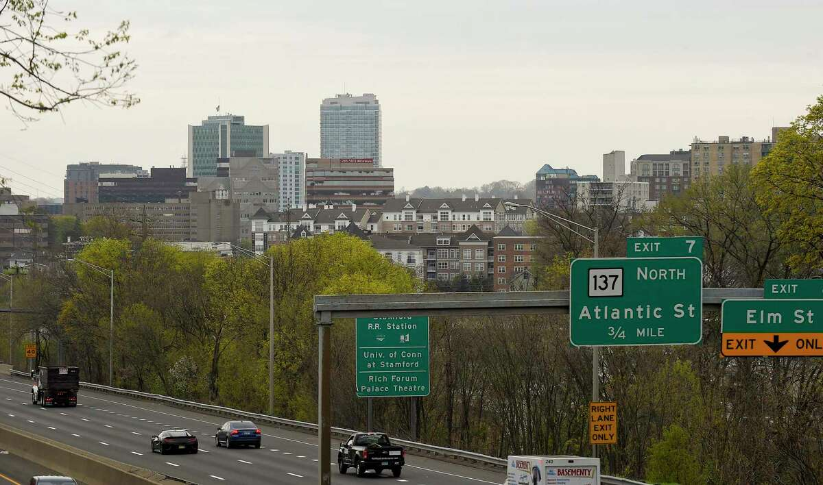 A view of Stamford, Connecticut city skyline in April 2020 from the Maher Road bridge on the East Side.