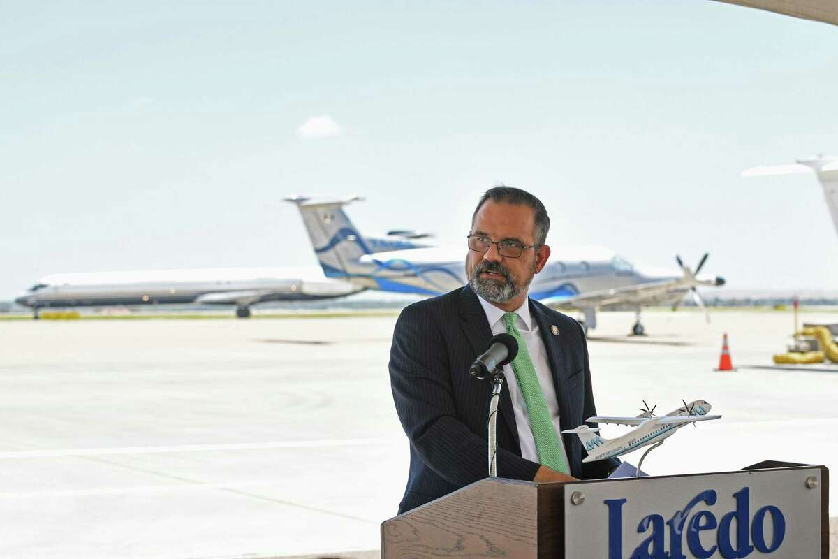 City Manager Robert Eads announces more information over the October Runway Run during a press conference at the old Laredo Airport terminal.