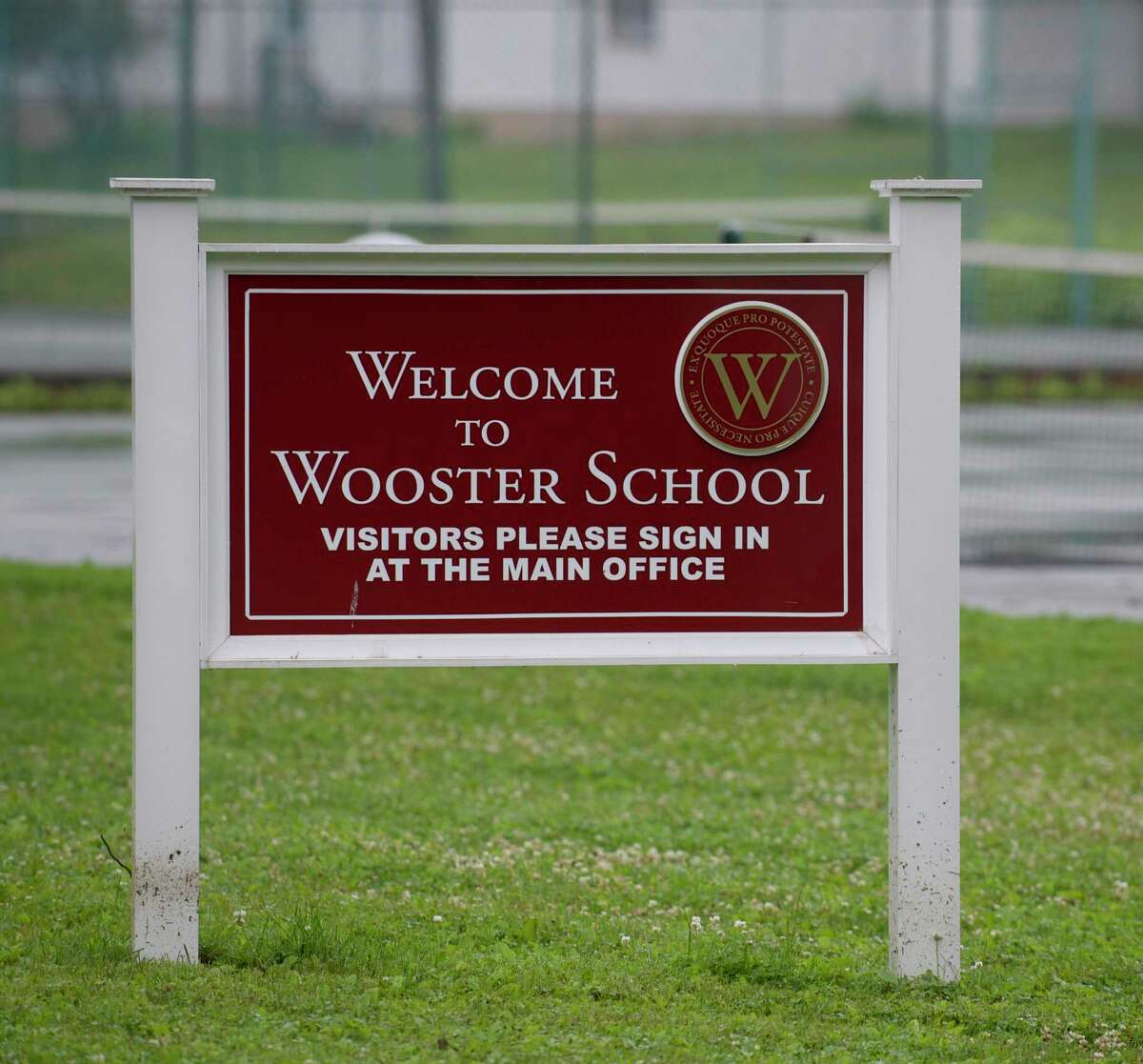 Sign at Wooster School, in Danbury, Conn, on Friday morning, June 13, 2014. The school will require vaccines for staff and eligible students as part of its 2021-22 return-to-school plan.