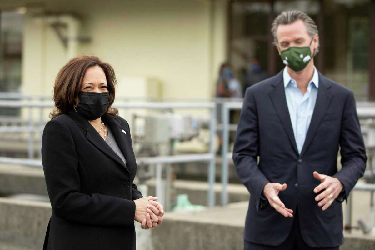 Vice President Kamala Harris and California Governor Gavin Newsom tour of the East Bay Municipal Utility District's Upper San Leandro Water Treatment Plant in Oakland in April.