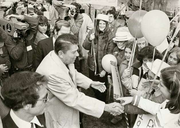 1980: A campaigning Ronald Reagan greets a youthful welcoming committee at the Stamford Italian Center.  Photo: File Photo / Stamford Advocate File Photo