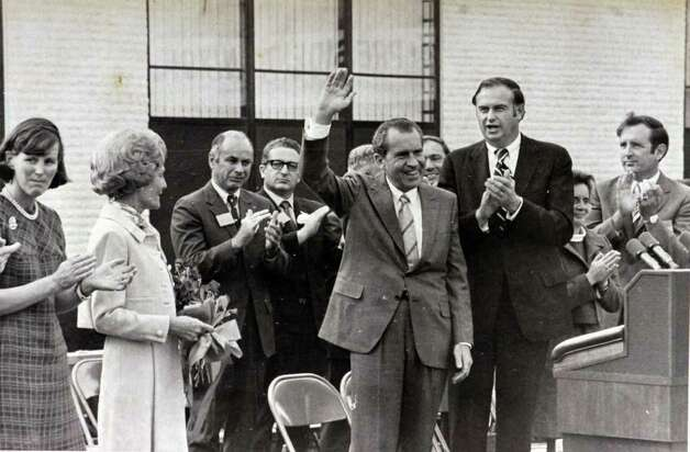 1970: President Richard Nixon waves to the crowd during his visit to Stamford. Photo: File Photo / Stamford Advocate File Photo