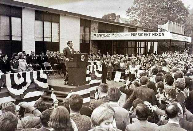1970: President Richard Nixon visits the Italian Center of Stamford. Photo: File Photo / Stamford Advocate File Photo