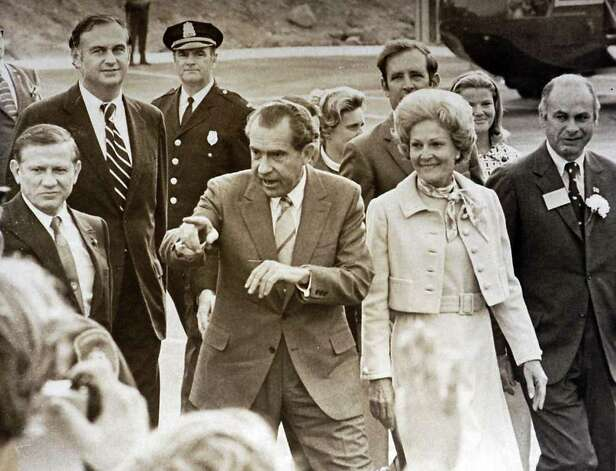 1970: President Richard Nixon and his wife Pat visit Stamford.  In the background at left is U.S. Senator from Connecticut Lowell Weicker, Jr. Photo: File Photo / Stamford Advocate File Photo