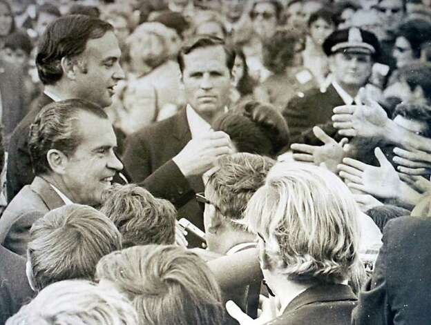 1970: President Richard Nixon shakes hands with supporters outside the Italian Center of Stamford. Photo: File Photo / Stamford Advocate File Photo