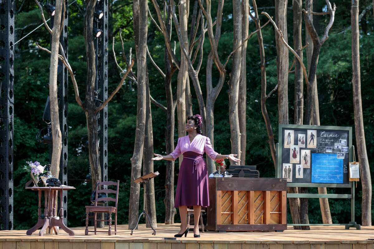 """Denyse Graves as Madame Caldwell Dawson in The Glimmerglass Festival's world premiere of """"The Passion of Mary Cardwell Dawson."""" COVID precautions made for outside production at unusual times this past summer. (Credit: Karli Cadel)"""