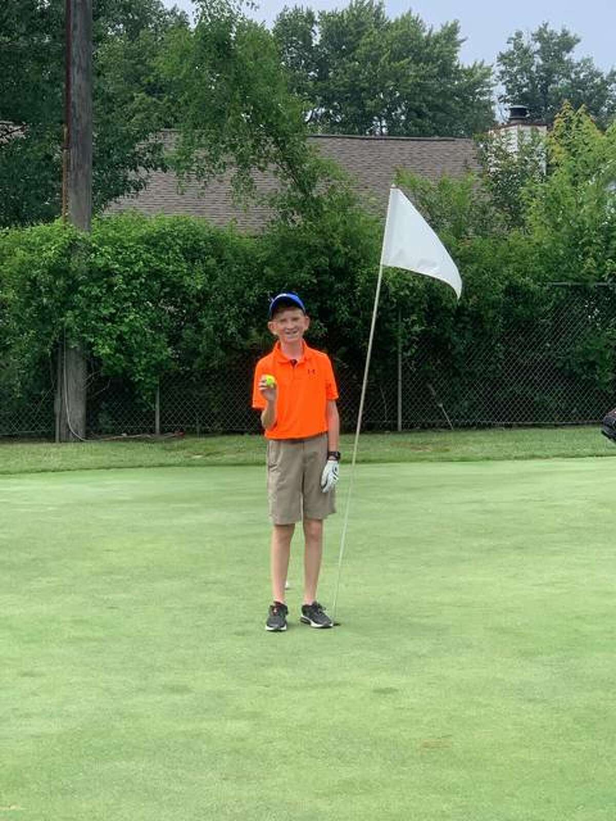Sam Shaw stands at #14 at Yorktown Golf Course where he hit his first hole-in-one.