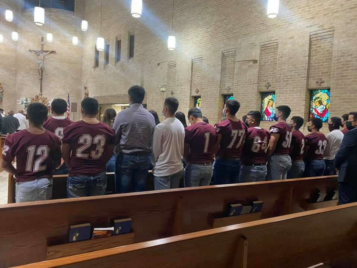 The Mathis community showed its Mathis Pirates pride at the funeral mass of Georgiana Martinez, a single mother to five who died of COVID-19 on Aug. 12, 2021.