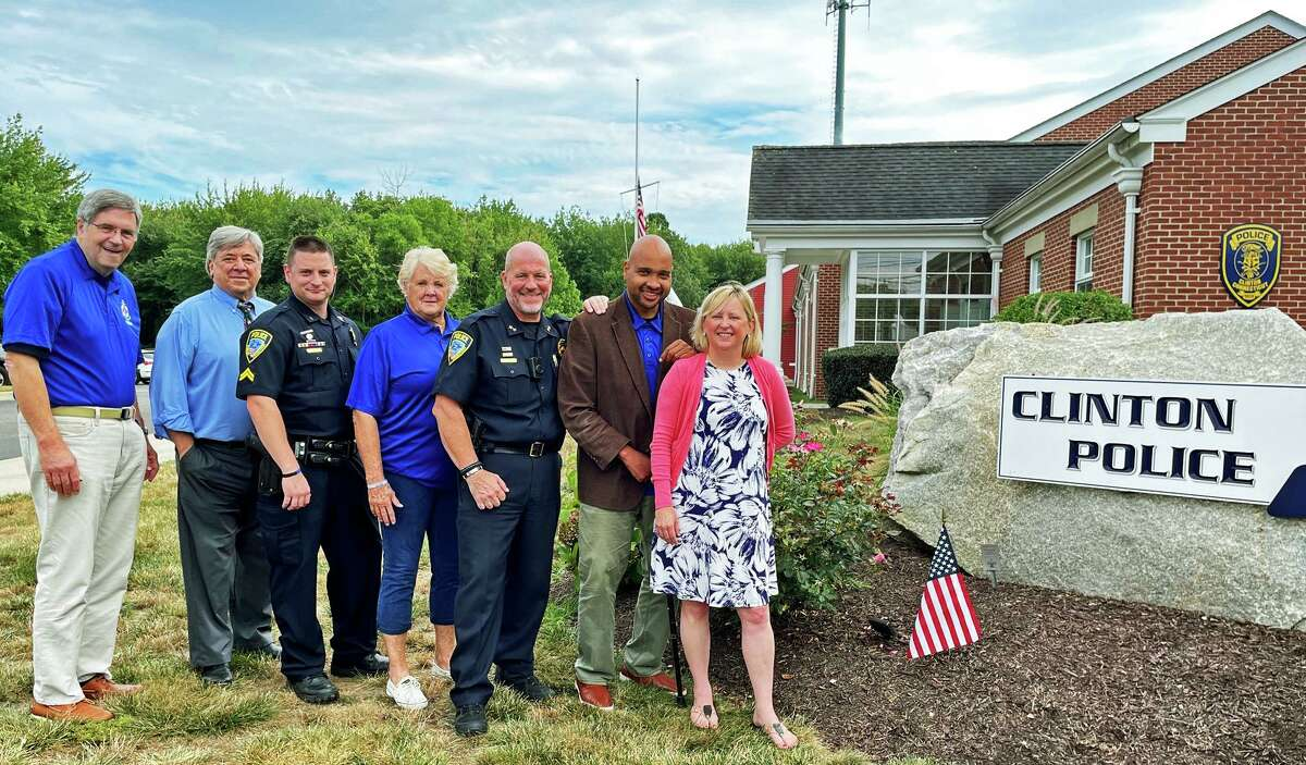 Community groups joined the Clinton Police Department for the kickoff of the Clinton Community Assistance Team program. Pictured from left are Miner Vincent, Families Helping Families; David Melillo, director, Clinton Human Services; Clinton Police Cpl.l Nicholas Torino; Jane Scully-Welch, CCAT volunteer; Clinton Police Chief Vincent DeMaio; M.D. Birmingham, co-founder UR Community Cares; Michelle Puzzo, co-founder, UR Community Cares.