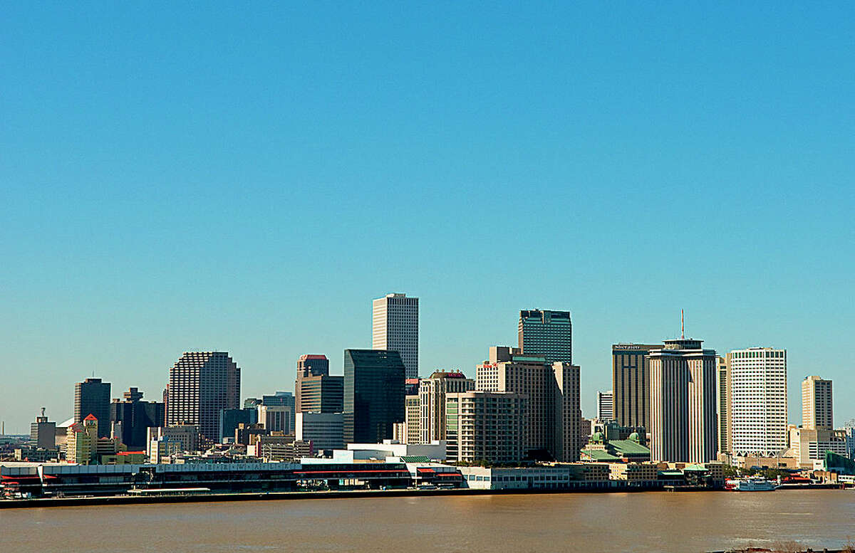 Skyline Of New Orleans Louisiana From Mississippi River After The Rebuilding.