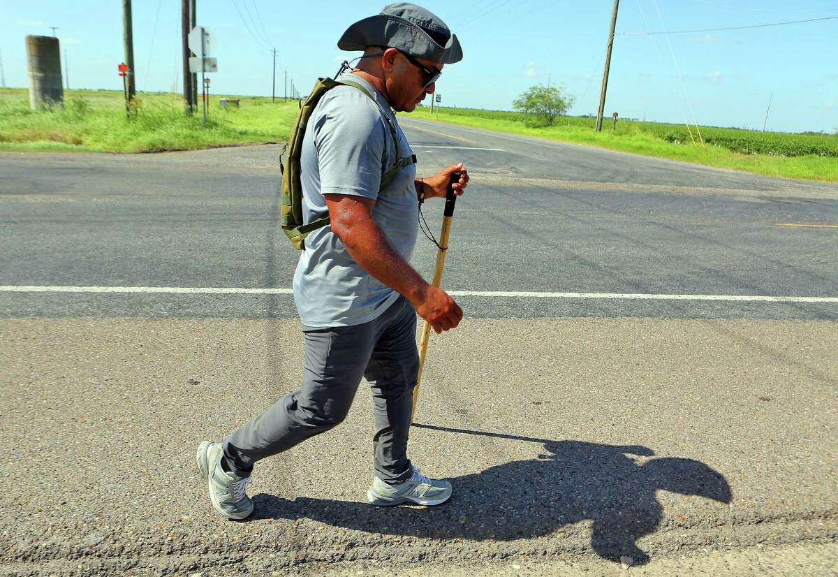 Ramon Castro walks along Military Highway near Progreso earlier this month. A reader showers praise on his effort to bring awareness to veterans who face deportation.