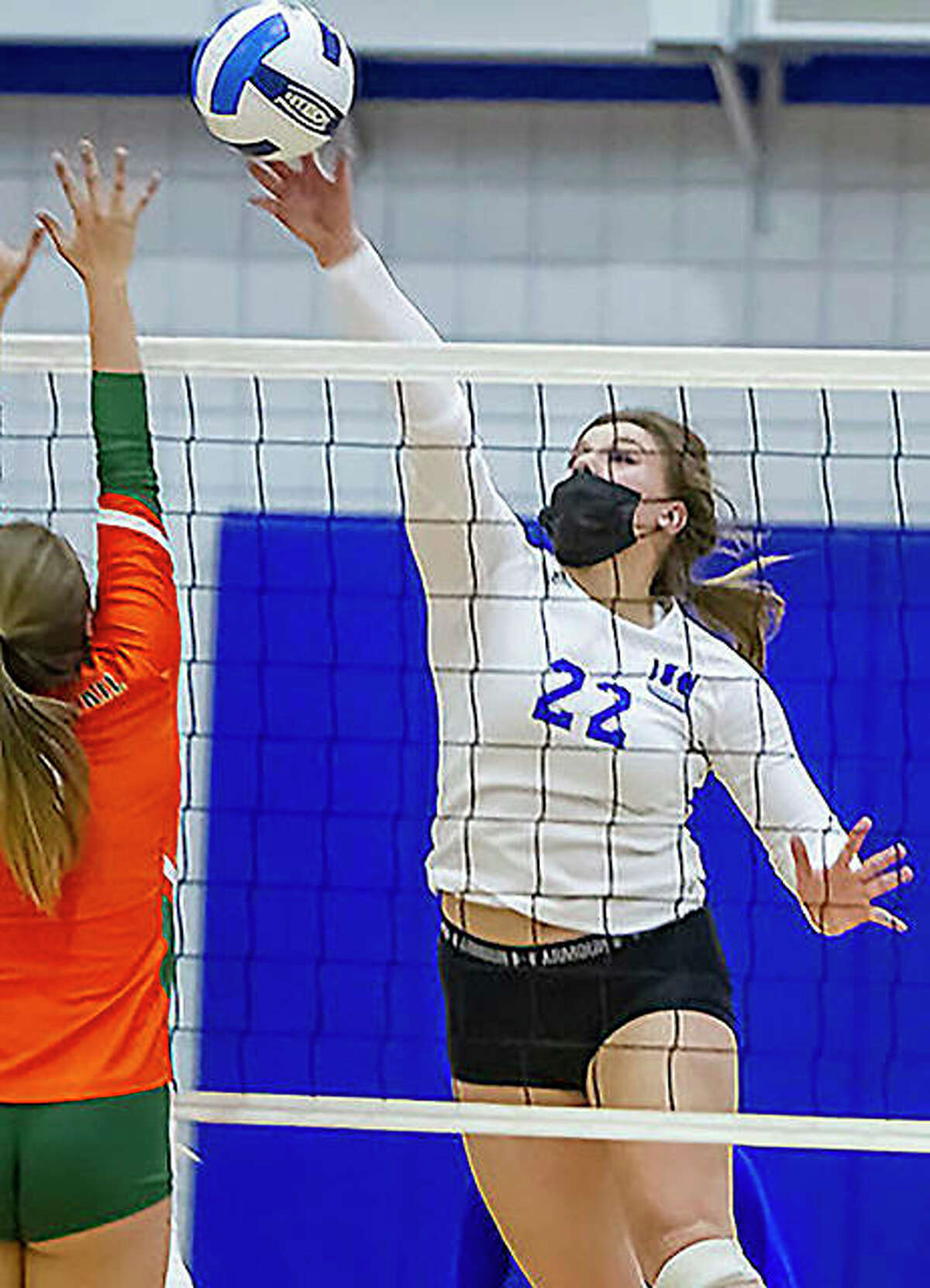 LCCC's Elizabeth Ladeairous (22), from Fresno, Calif., is one of two sophomores back with the Lewis and Clark Community College volleyball team this season.