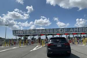 The border crossing in Champlain, New York, where CBP verifies travelers entering the U.S. from Canada, has seen significantly less traffic than usual since pandemic border restrictions kicked in in March 2020. (Rebekah F. Ward/Times Union)