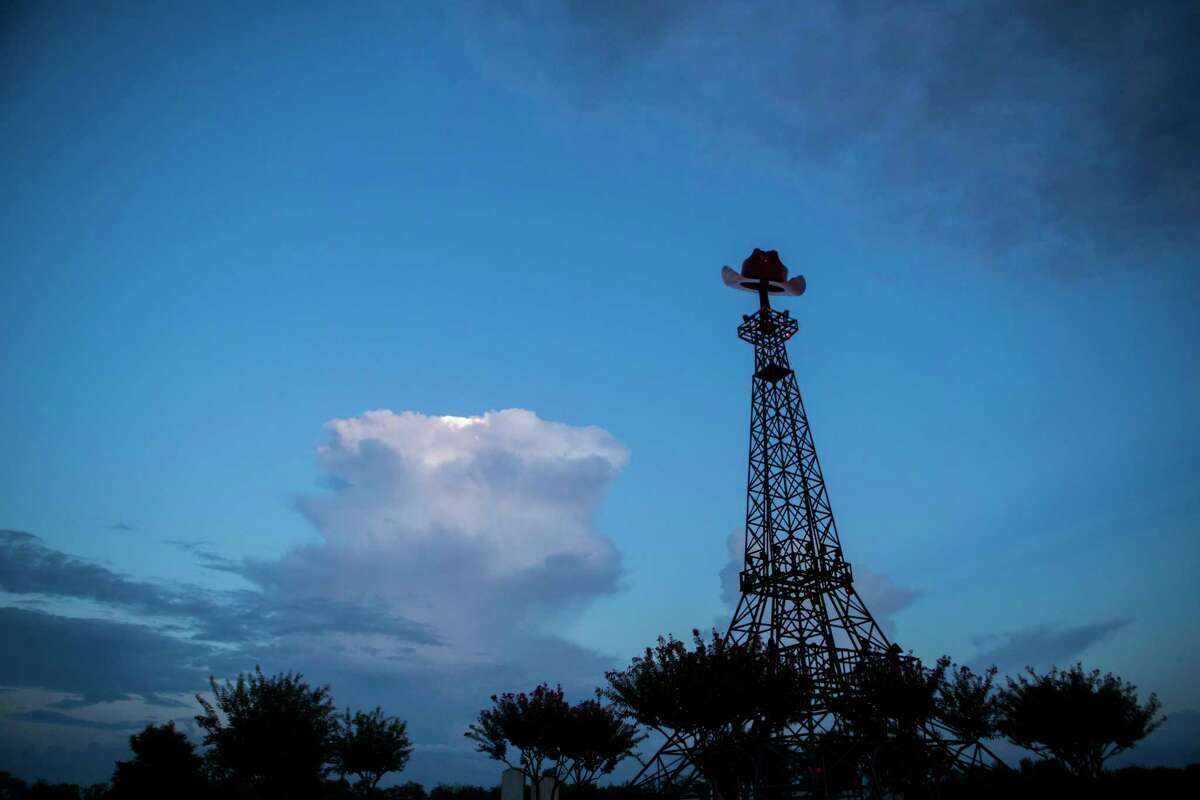 Eiffel Tower landmark in the city of Paris, Texas. The tower was constructed in 1993 and is a model of the French one but with a red western hat on top of it. Thursday, Sept. 6, 2018.