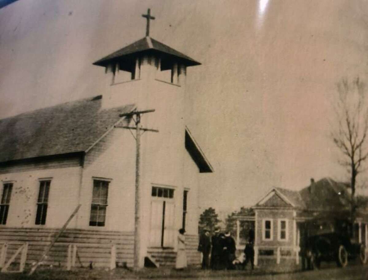 Pictured is the first church of Sacred Heart Catholic Church in Conroe - St. Marys of the Woods. Sacred Heart historians are seeking more information on the original wooden structure and what happened to it.