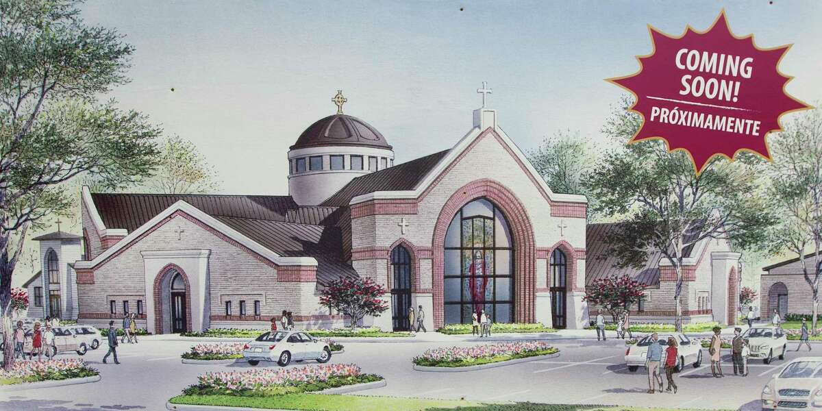 An artist rendering of Sacred Heart Catholic Church new church is seen Wednesday, June 7, 2017, in Conroe. To the left is a replica of the original St. Mary's of the Woods chapel. This replica chapel today resides as a part of the new church campus at North Frazier and FM 2854 in downtown Conroe.
