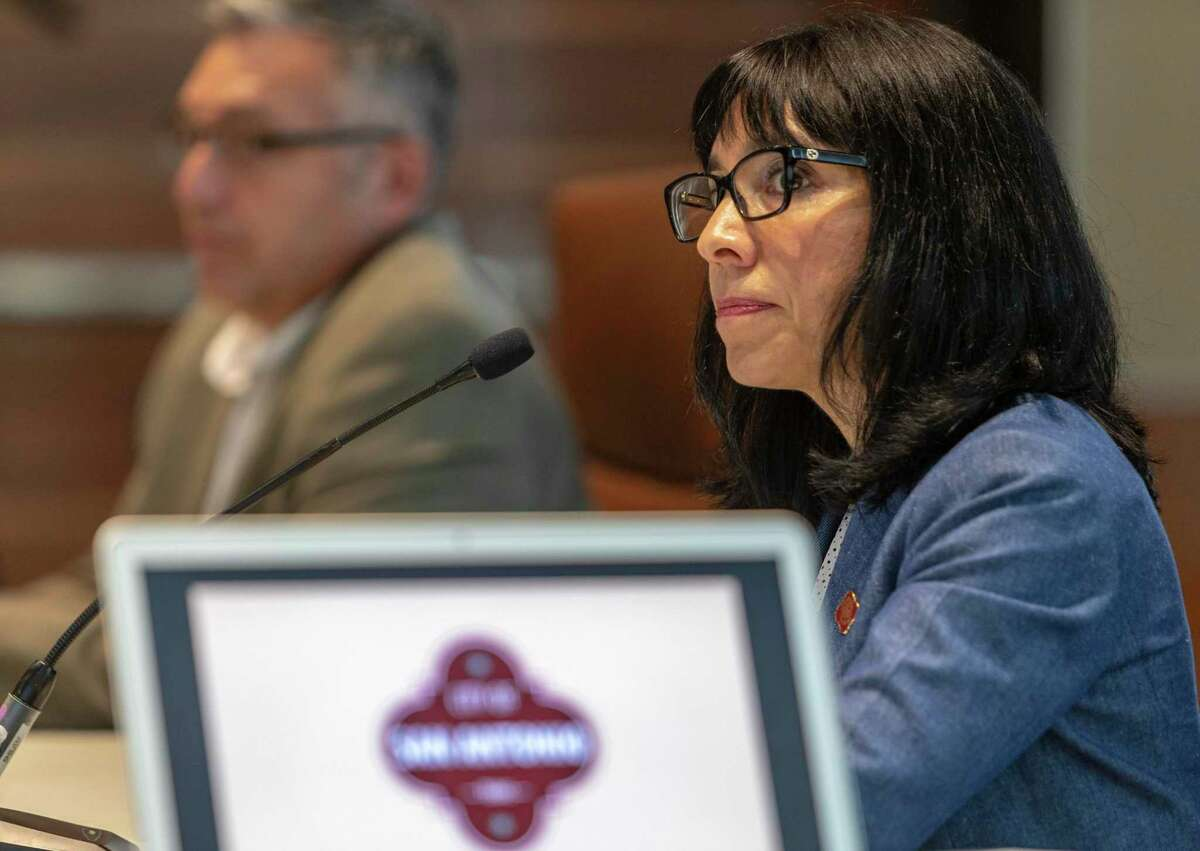 María Villagómez, deputy city manager and head of the city's negotiating team, speaks July 8 during a round of negotiations with the San Antonio Police Officer Association. The city's contract with the union expires in September.