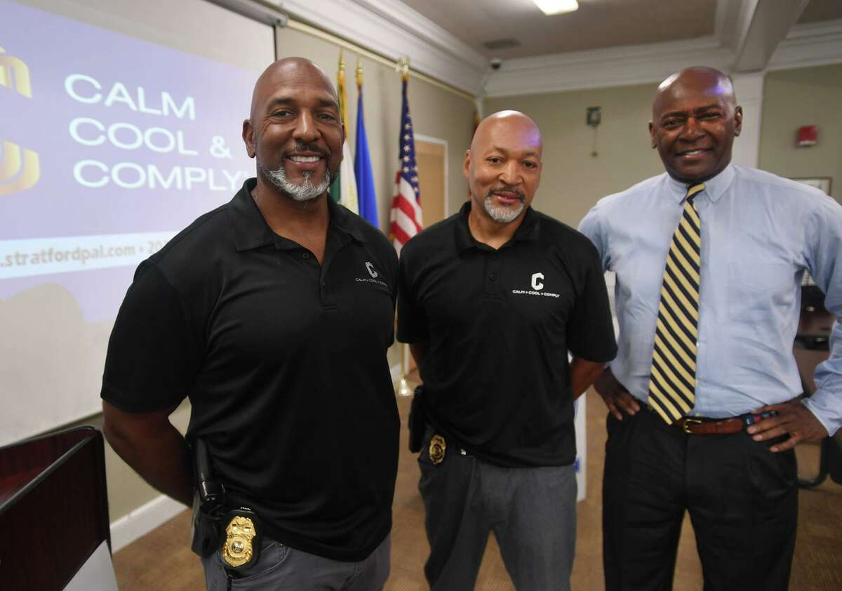 From left; Stratford police Lt. Curtis Eller, Detective Sgt. James Lofton, and Attorney Donald Smart of the Police Engagement Program, or P.E.P., to foster better relationships between the department and the community, in Stratford, Conn. on Wednesday, Aug. 11, 2021.