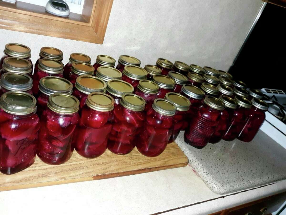 This weekLovinaand daughtersLovinaand Lorettacanned 42 quarts of red beets from the garden. (Courtesy photo)
