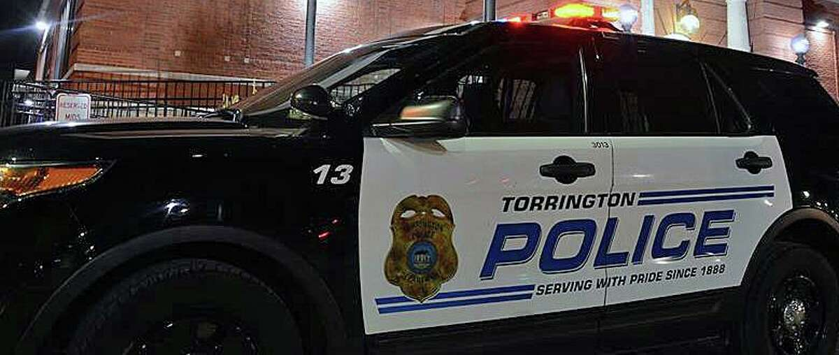 A Torrington Police cruiser. The police department responded Friday morning to a crash involving a motorcycle and a car.