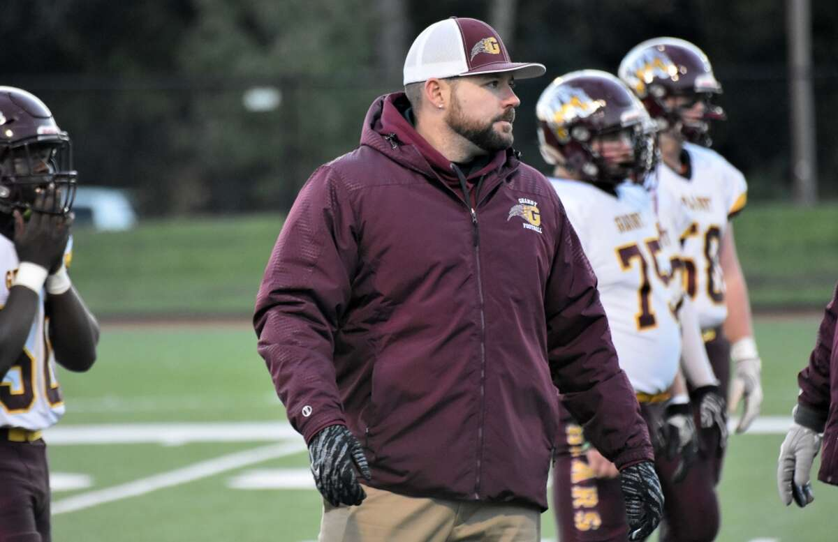 Granby coach Erik Shortell before the game on Thursday, Oct. 18, 2018. (Pete Paguaga, Hearst Connecticut Media)