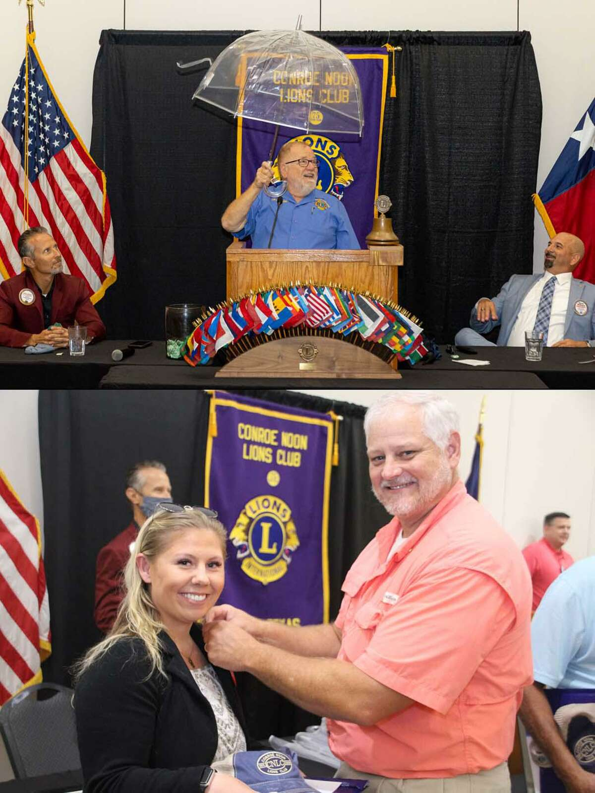 It was raining napkins last week at the Conroe Noon Lions Club - New Member Induction ceremony. Pictured-top (center) Master of Ceremonies Past District Governor Rick Reynolds used an umbrella to avoid flying napkins as Program Chair Mike Sproba (left) and Club President Steve Williams (right) look on. Bottom - Tail Twister Scott Perry (right) pins a Lions lapel pin on his newest member Hannah Medley (left) during the ceremony.