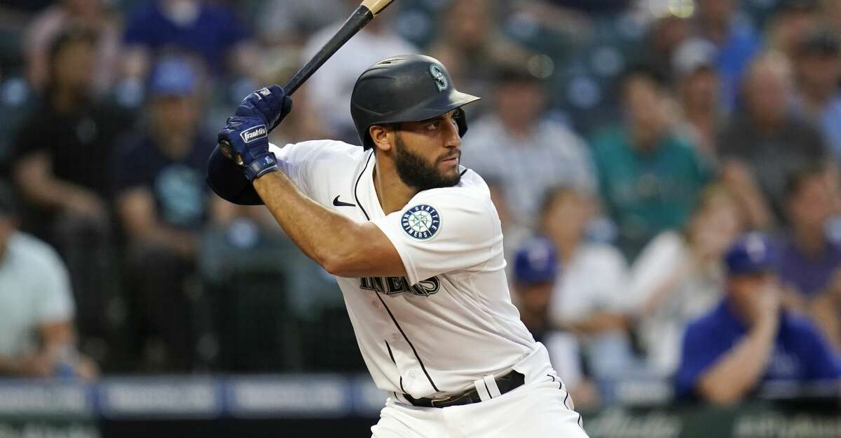 Seattle Mariners' Abraham Toro in action against the Texas Rangers in a baseball game Tuesday, Aug. 10, 2021, in Seattle. (AP Photo/Elaine Thompson)