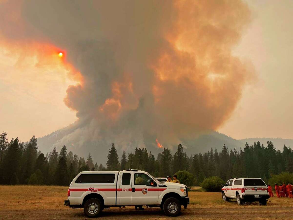 A scene from Lassen Volcanic National Park being burned by the Dixie Fire.