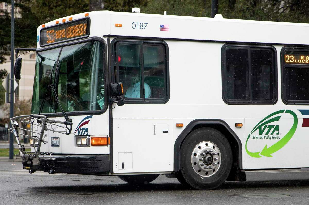 This file photograph shows a Valley Transportation Agency bus making its way down East Santa Clara Avenue in San Jose, Calif. Friday, January 22, 2021.