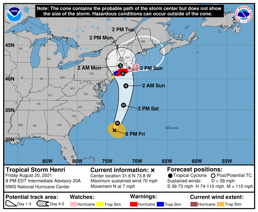 A map showing the center of Tropical Storm Henri near latitude 31.6 north, longitude 73.8 west.
